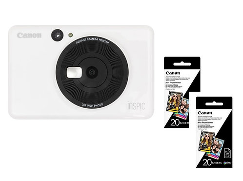 iNSPiC ZV-123A Instant Camera Printer White ( 2 x FREE Photo Paper)