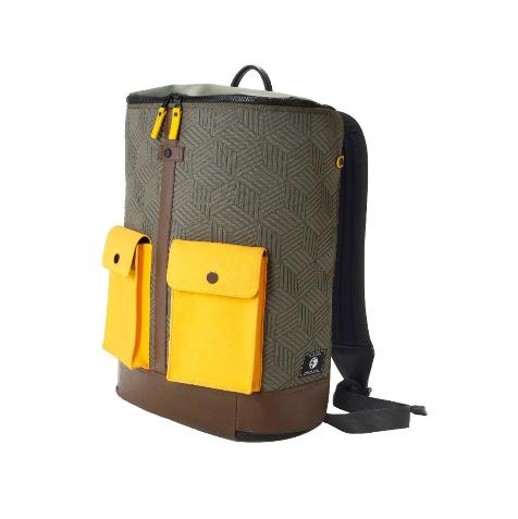 Frequent Flyer - 大口袋全開拉鏈旅行多分格背包(L) - 軍綠色/黃色