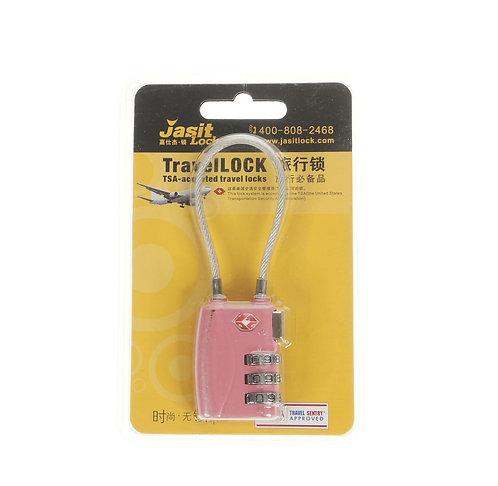 Jasit Lock 柔性鋼纜繩行李箱海關鎖 TSA719 - 粉紅色