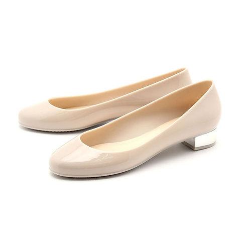 Milady - 女士休閒淺口圓頭低跟雨靴水鞋-象牙白