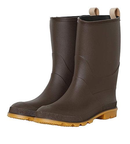 Milady - 女士休閒中筒橡膠防滑雨靴水鞋-深啡色