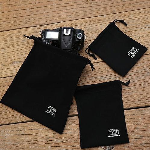 AKIBA Black Nubuck Leather Dust Bag Pouch (L) 20 x 24cm