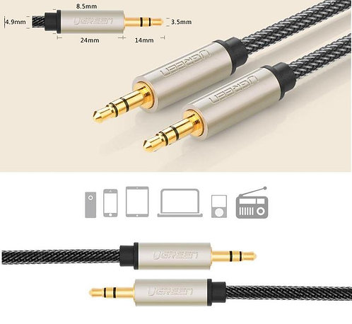 UGREEN 3.5mm SILVER AUX AUXILIARY Male to M Stereo Car Audio Cable 0.5-3M