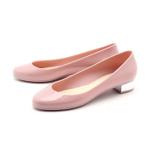 Milady - 女士休閒淺口圓頭低跟雨靴水鞋-粉紅色