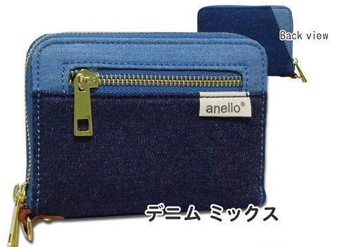 Anello - 簡約 牛仔布 迷你 錢包 短銀包 AT-B0934(牛仔藍混色)