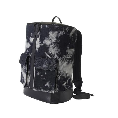 Frequent Flyer - 大口全開拉鏈多分格旅行背包(L) - 牛仔黑 Tie Dye Denim Black (22L)