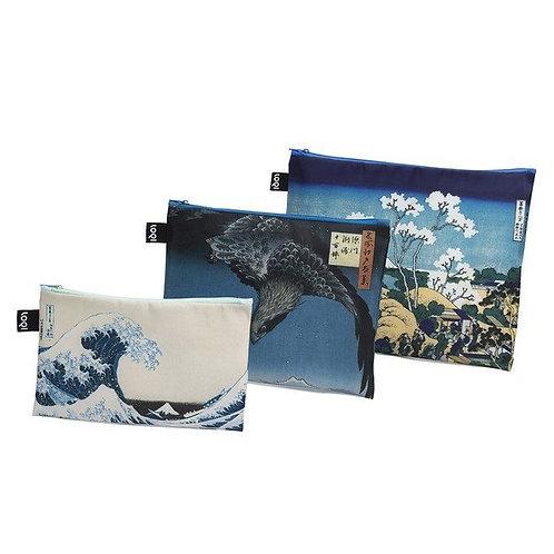 LOQI - 三個套裝 多用途 拉鏈儲物 旅行收納 化妝袋 Museum Zip Pocket – Hokusai