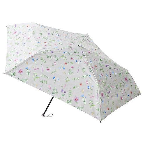 estaa - 日本直送 - 輕量 120g 晴雨兼用 防UV 遮光 遮熱 水彩風 折傘 短傘 日傘 - 花叢 白色/草花 オフホワイト