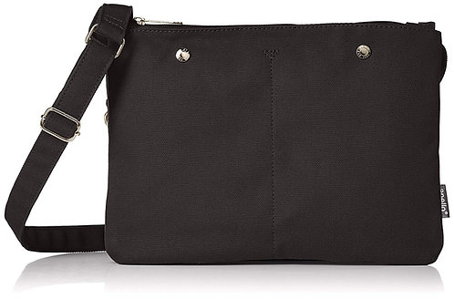 Anello - 棉布 超輕 多分格 簡約 側揹袋 AT-S0441(黑色)