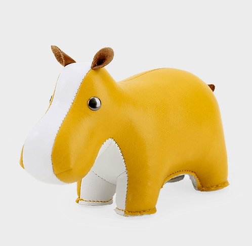 ZUNY Hippo Paperweight - Ochre Yellow + White