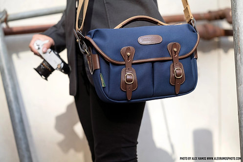 Hadley Small Pro Camera Bag - Navy Canvas / Chocolate Leather 505004-54