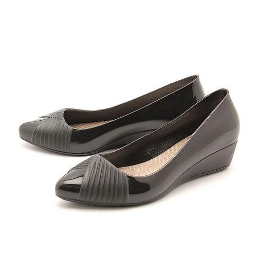 Milady - 女士休閒淺口坡跟雨靴水鞋-黑色
