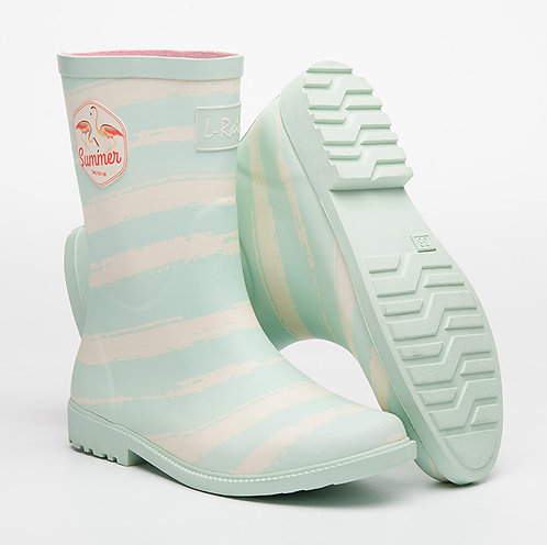 L.Rain - L.Rain 天堂鳥條紋中筒雨靴水鞋 – 薄荷藍色