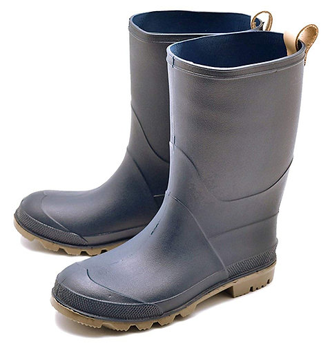 Milady - 女士休閒中筒橡膠防滑雨靴水鞋-深藍色