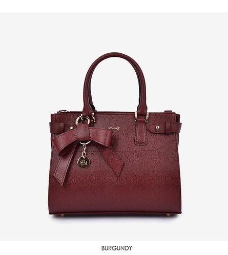 ROOTY - KARA 蝴蝶結皮革製兩用手提袋 - 棕紅色