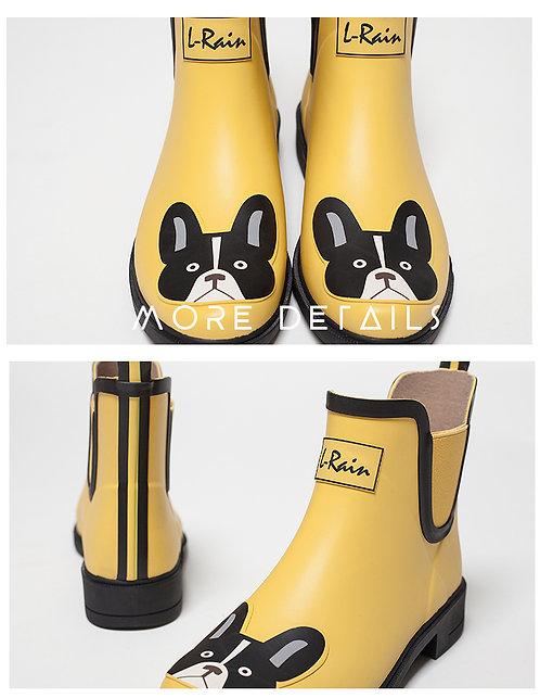 L.Rain - L.Rain 亮黃小狗低筒雨靴水鞋 – 黃色