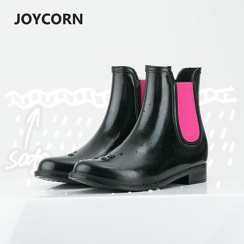 JOYCORN - 簡約低筒平底橡膠雨靴水鞋 – 黑色
