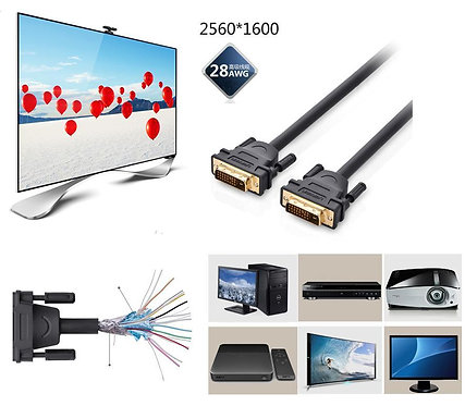 UG Gold Plated DVI (24+1 pin) Male To Male Cable for 2K PC HDTV (3 Meter)