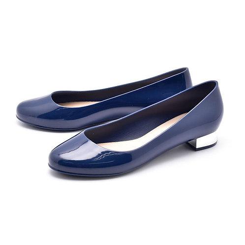 Milady - 女士休閒淺口圓頭低跟雨靴水鞋-深藍色