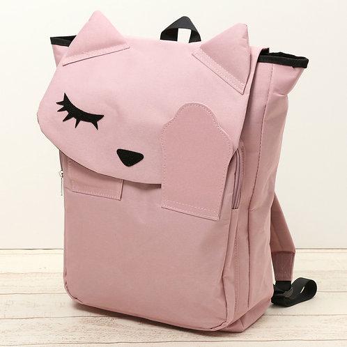 [Poohchan]閉眼貓噗醬尼龍後背包 - 粉紅色