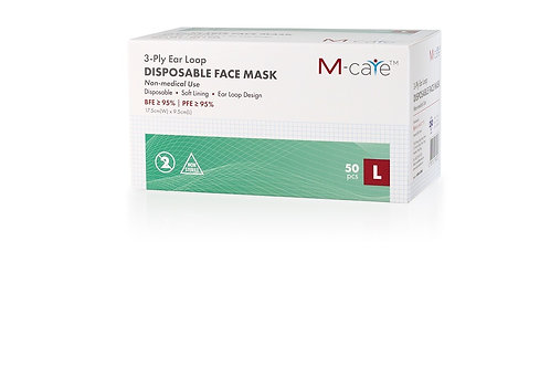 MainettiCare 3-ply Ear Loop Disposable Masks (Adult, Bulk Pack)