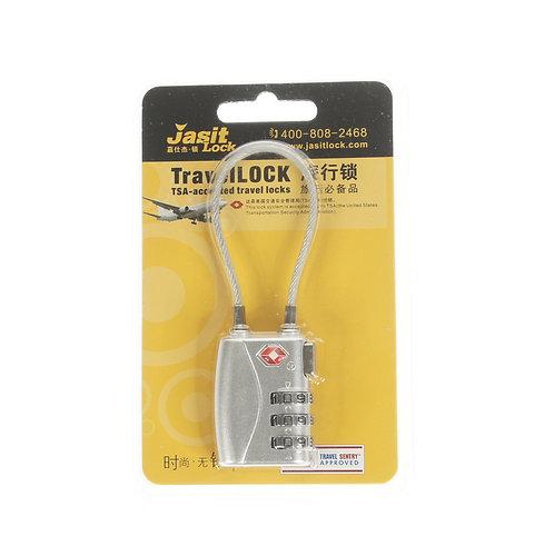 Jasit Lock 柔性鋼纜繩行李箱海關鎖 TSA719 - 銀色