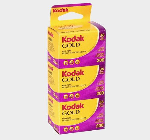 KODAK Gold 200 36exp 35mm Color Negative Film (3 Rolls/Pack)