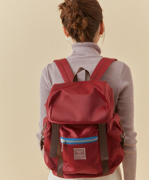 Anello - Sabrina系列 揭蓋防水尼龍背包 輕便 多分格 ATT0506 - 紅色