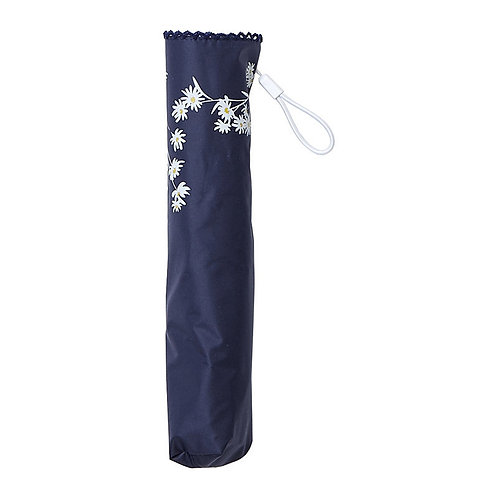 estaa - 輕量 晴雨兼用 日傘 - 小白花 深藍/天藍 /にじみフラワー ネイビーブルー