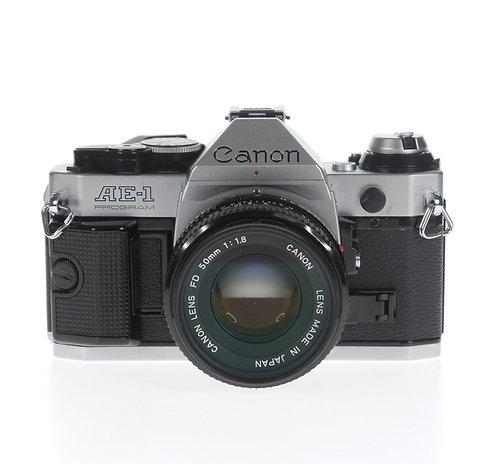 Canon AE-1 Program 35mm SLR Film Camera + FD 50mm f/1.8 Lens