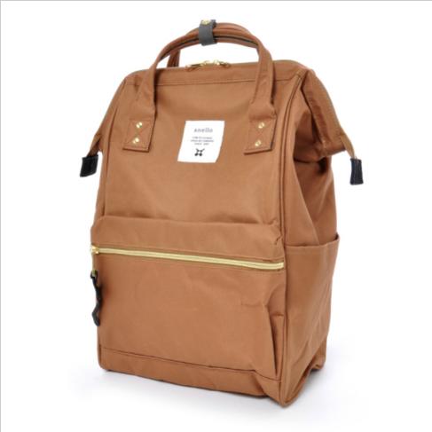 Anello - 官方 AT-B0197 帆布 鋼圈定型袋口 迷你背包小號 - 米色