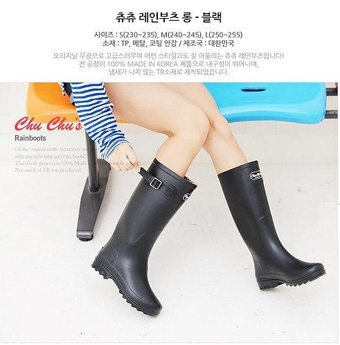 Chu chus - 韓國製簡約高筒雨靴水鞋 – 黑色