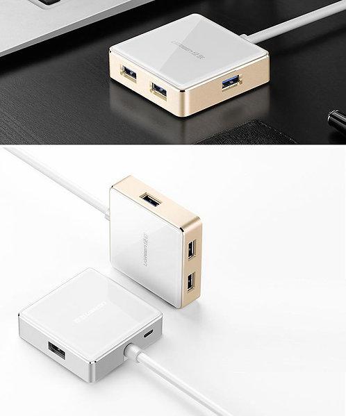 UGREEN USB 3.0 Aluminum Silver 4 Ports MacBook Pro Air PC Hub Adapter Charger 1M