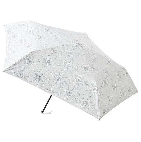 estaa - 日本直送 - 輕量 120g 晴雨兼用 防UV 遮光 遮熱 折傘 短傘 日傘 - 蕾絲花朵 白色/花のレース ホワイト