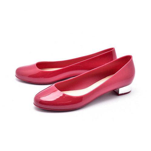 Milady - 女士休閒淺口圓頭低跟雨靴水鞋-酒紅色