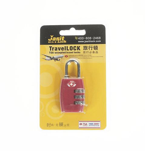 Jasit Lock 柔性鋼纜繩行李箱海關鎖 TSA719 - 玫瑰紅色