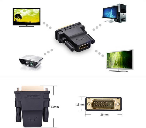 UGREEN Gold Plated DVI-D Male(24+1pin) to HDMI Female (19-pin) Adapter Monitor