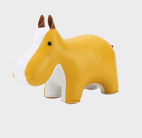 ZUNY Hippo Bookend - Ochre Yellow + White