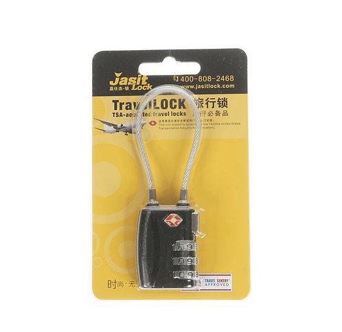 Jasit Lock 柔性鋼纜繩行李箱海關鎖 TSA719 - 黑色