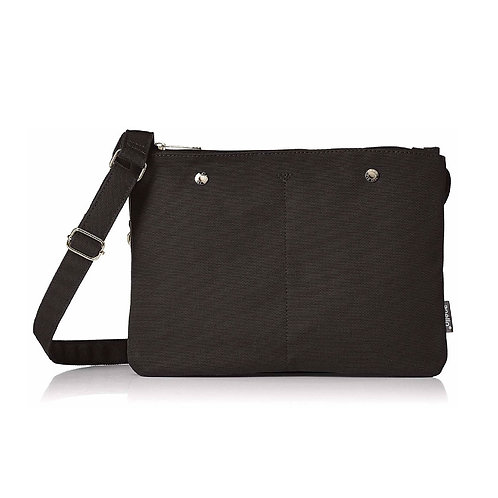 Anello - hanpu 棉布超輕多分格簡約斜揹包側揹袋 AT-S0441-BK 黑色