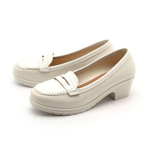 Milady - 女士休閒中低跟雨靴水鞋-象牙白