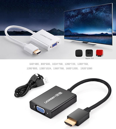 UGREEN Aluminum HDMI to VGA Converter Adapter with Audio 1080P for Notebook BK