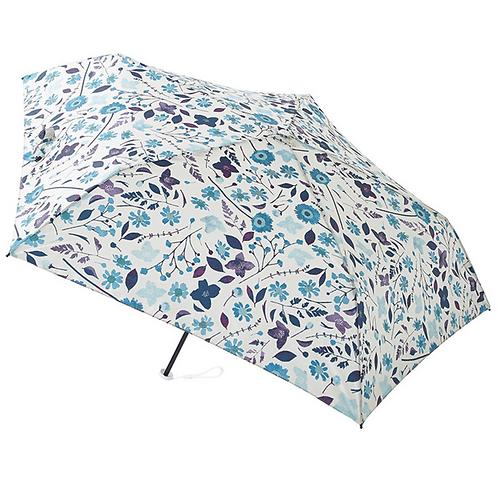 estaa - 日本直送 - 90g 超輕量 防UV 水彩風 折傘 短傘 折傘 雨傘 - 夏日小花 天藍/花々 スカイブルー