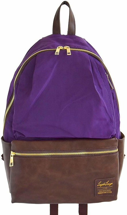 Legato Largo - 拼色皮革背包 LR-H1051(紫色)