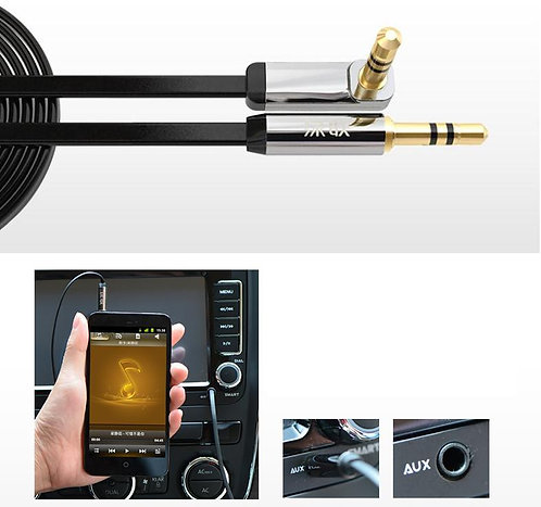 UG WH 3.5mm 90° Male Plug Stereo Audio Cable AUX AUXILIARY iPod MP3 CAR 0.5-3M