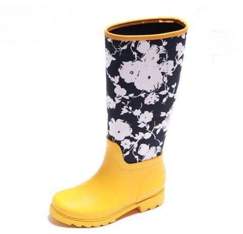 JOYCORN - 時尚高筒潑墨平底橡膠雨靴水鞋 – 黃色