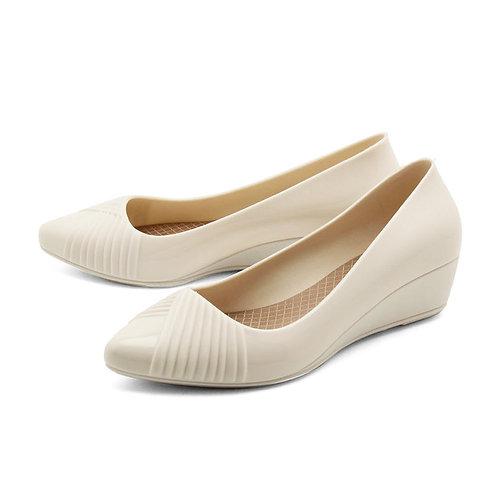 Milady - 女士休閒淺口坡跟雨靴水鞋-象牙白