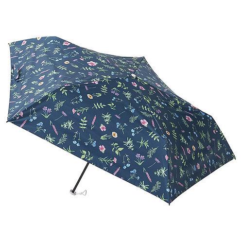 estaa - 日本直送 - 輕量 120g 晴雨兼用 防UV 遮光 遮熱 水彩風 折傘 短傘 日傘 - 花叢 深藍/草花 ネイビーブルー
