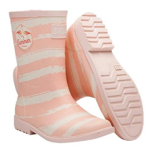L.Rain - L.Rain 天堂鳥條紋中筒雨靴水鞋 – 粉紅色