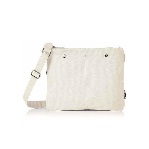 Anello - hanpu 麻質棉布超輕多分格簡約斜揹包側揹袋 AT-S0441-IV 米白色